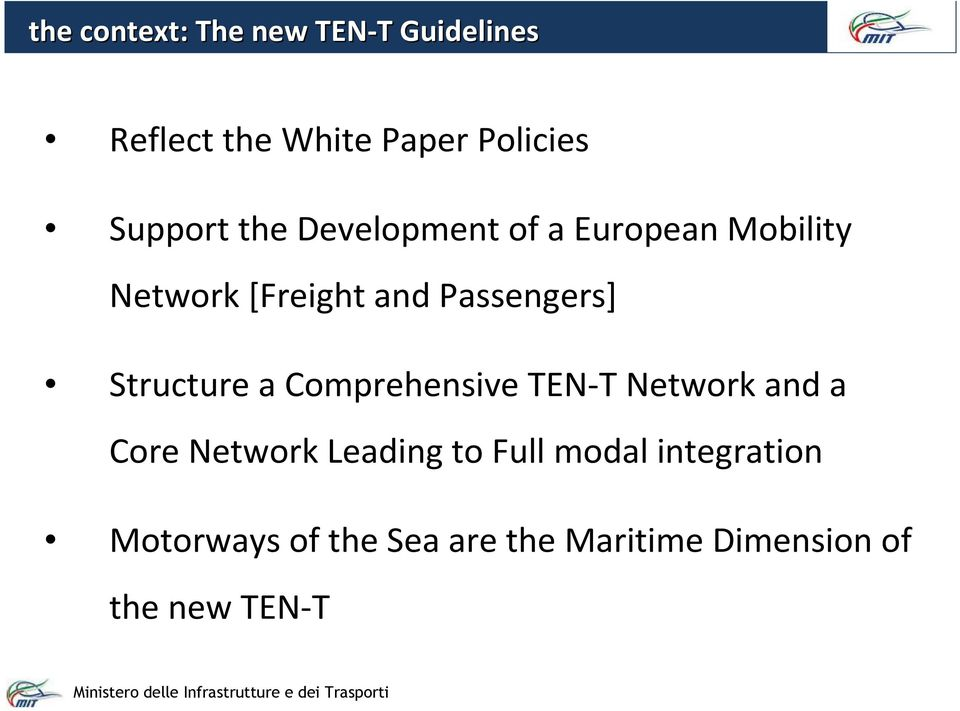 Passengers] Structure a Comprehensive TEN-T Network and a Core Network