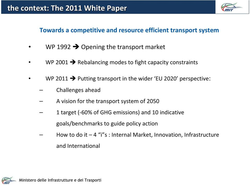 perspective: Challenges ahead A vision for the transport system of 2050 1 target (-60% of GHG emissions) and 10