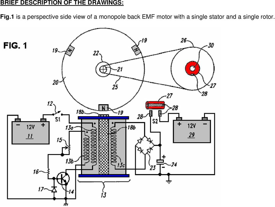 of a monopole back EMF motor with