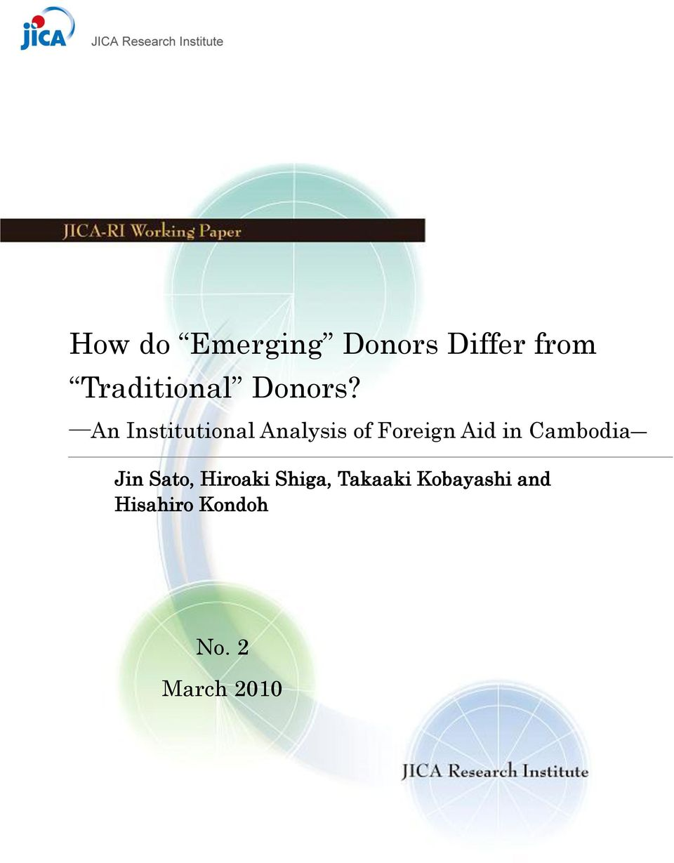 An Institutional Analysis of Foreign Aid in