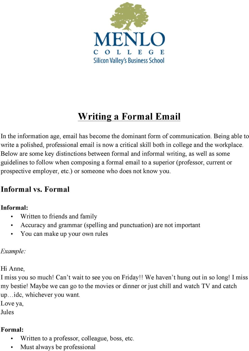 Below are some key distinctions between formal and informal writing, as well as some guidelines to follow when composing a formal email to a superior (professor, current or prospective employer, etc.