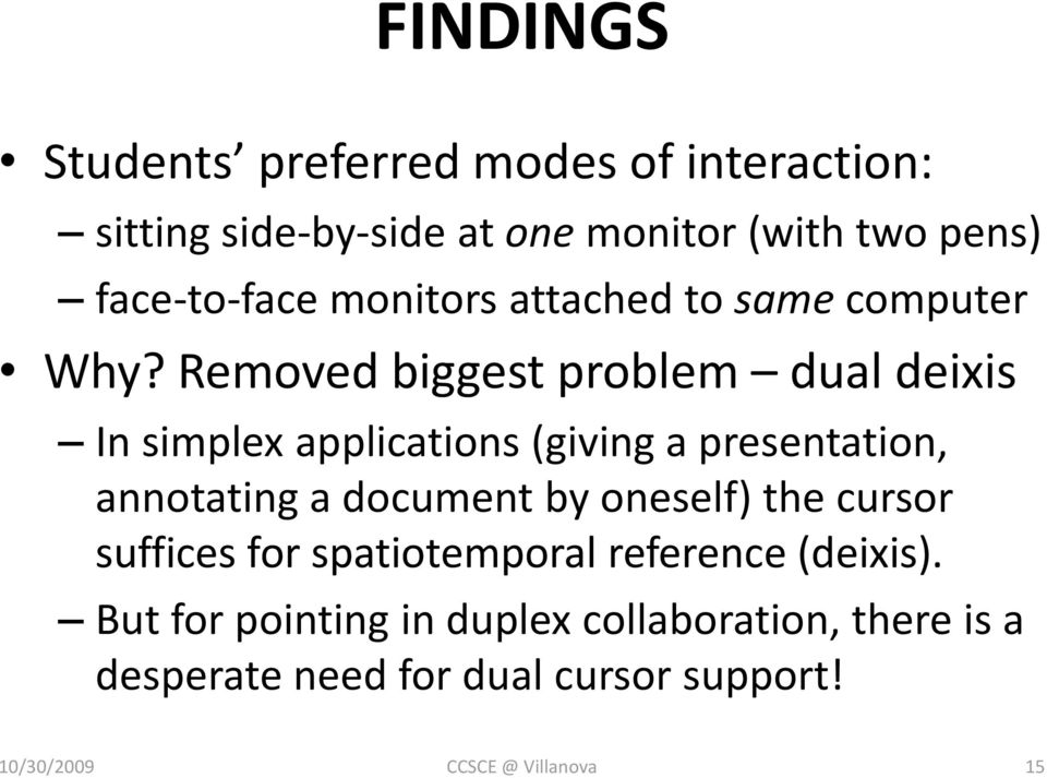 Removed biggest problem dual deixis In simplex applications (giving a presentation, annotating a document