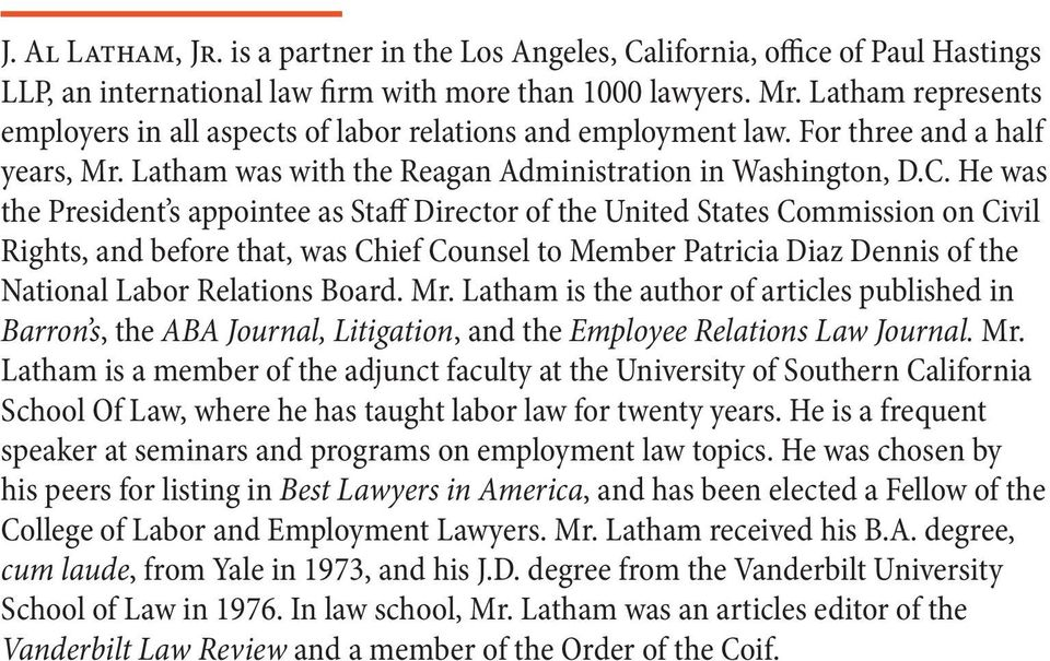 He was the President s appointee as Staff Director of the United States Commission on Civil Rights, and before that, was Chief Counsel to Member Patricia Diaz Dennis of the National Labor Relations