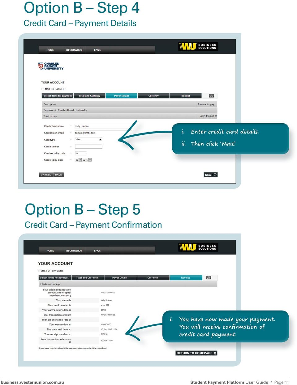 Option B Step 5 Credit Card Payment Confirmation i.