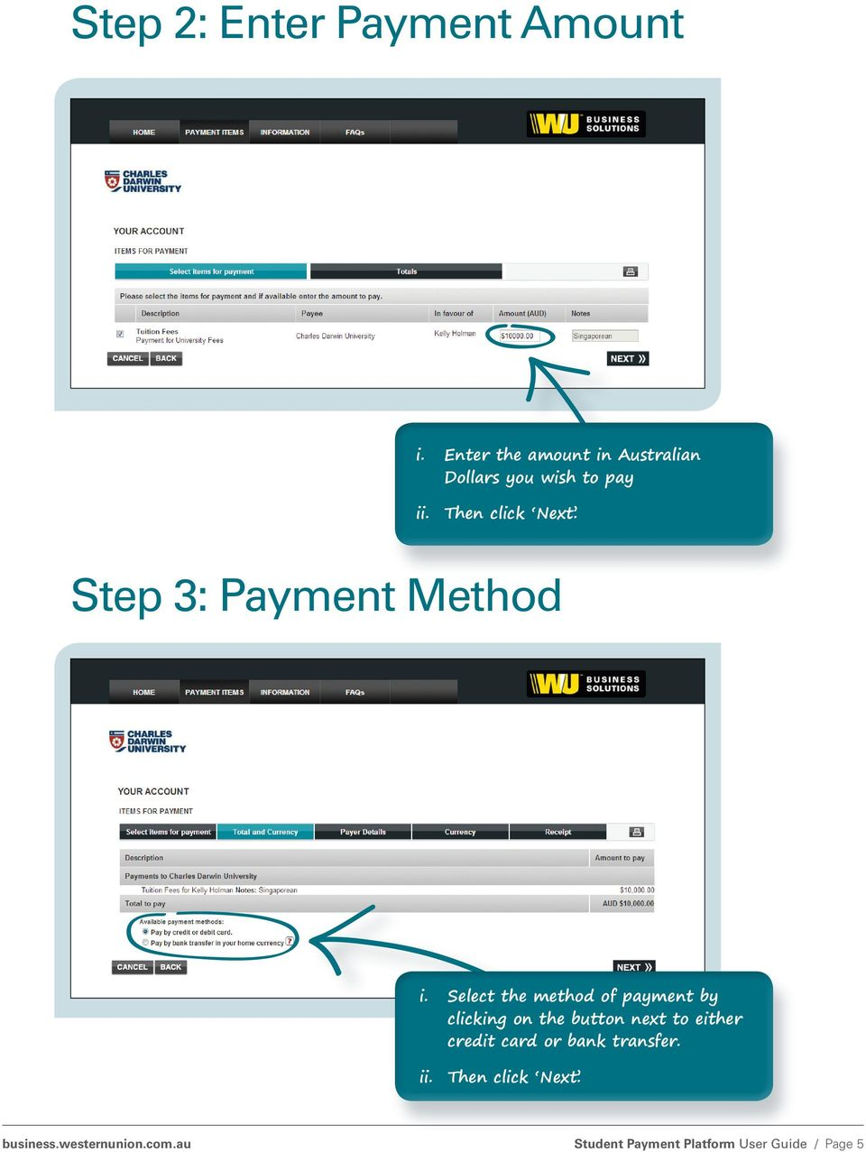 Step 3: Payment Method i.