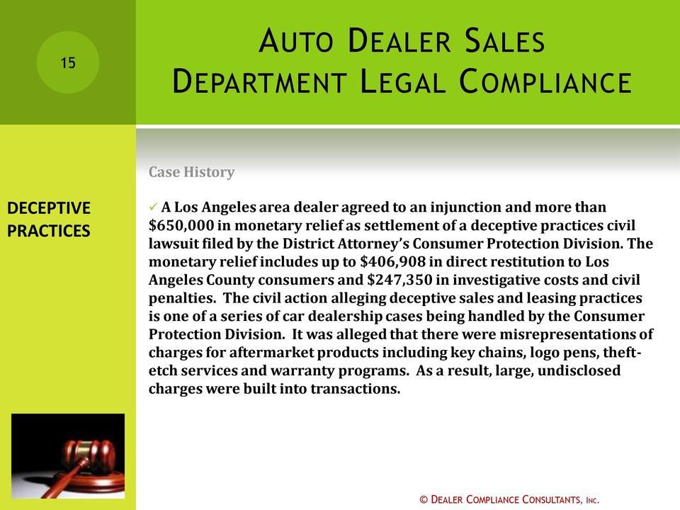 The civil action alleging deceptive sales and leasing practices is one of a series of car dealership cases being handled by the Consumer Protection Division.