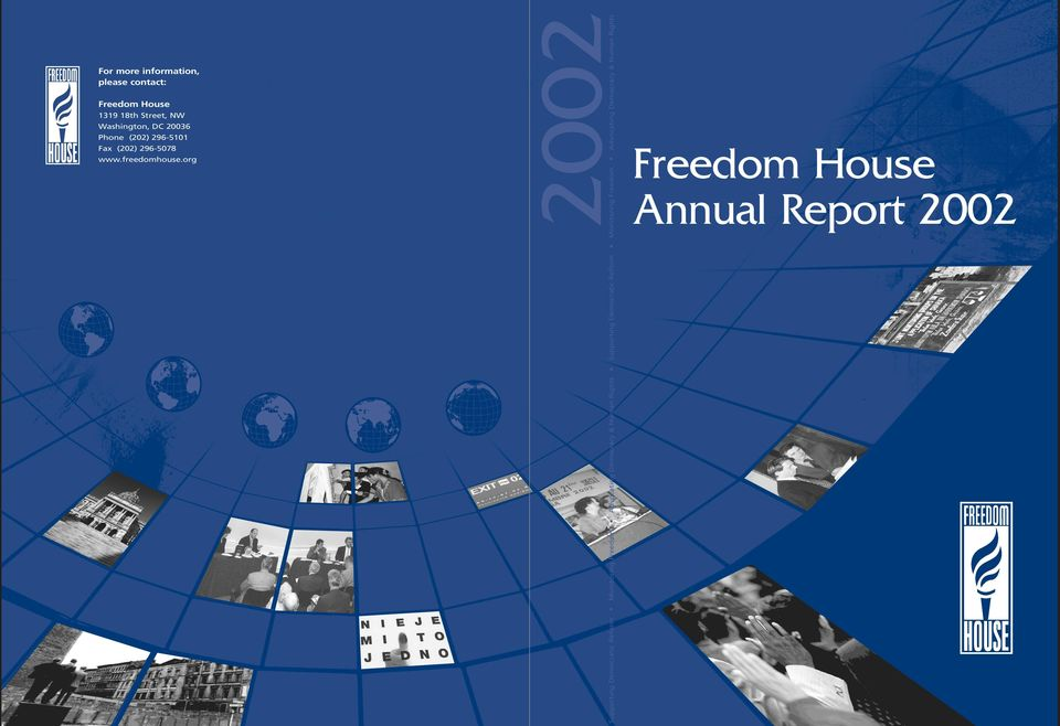 org 2002 Supporting Democratic Reform Monitoring Freedom Advocating Democracy & Human