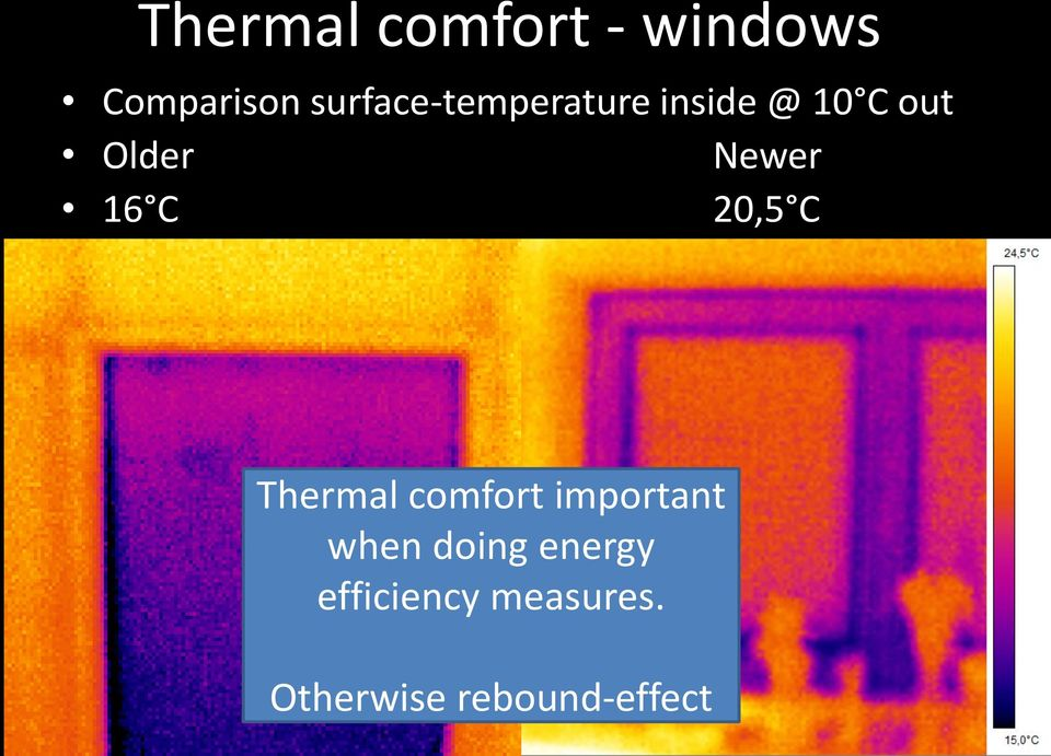 Newer 16 C 20,5 C Thermal comfort important