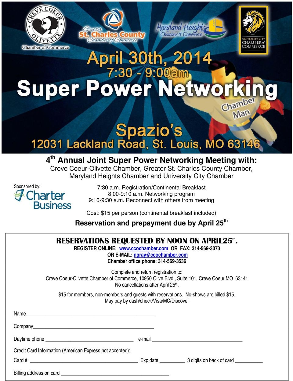 REGISTER ONLINE: www.ccochamber.com OR FAX: 314-569-3073 OR E-MAIL: ngray@ccochamber.