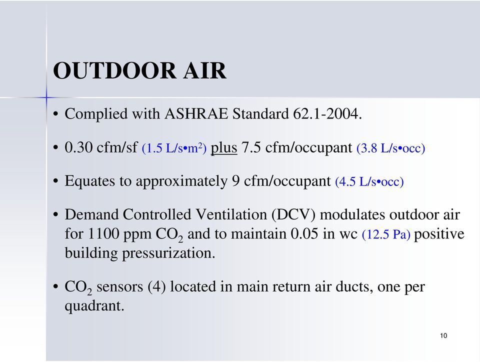 5 L/s occ) Demand Controlled Ventilation (DCV) modulates outdoor air for 1100 ppm CO 2 and to