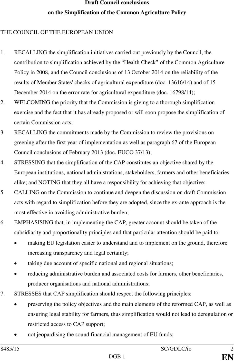 Council conclusions of 13 October 2014 on the reliability of the results of Member States' checks of agricultural expenditure (doc.