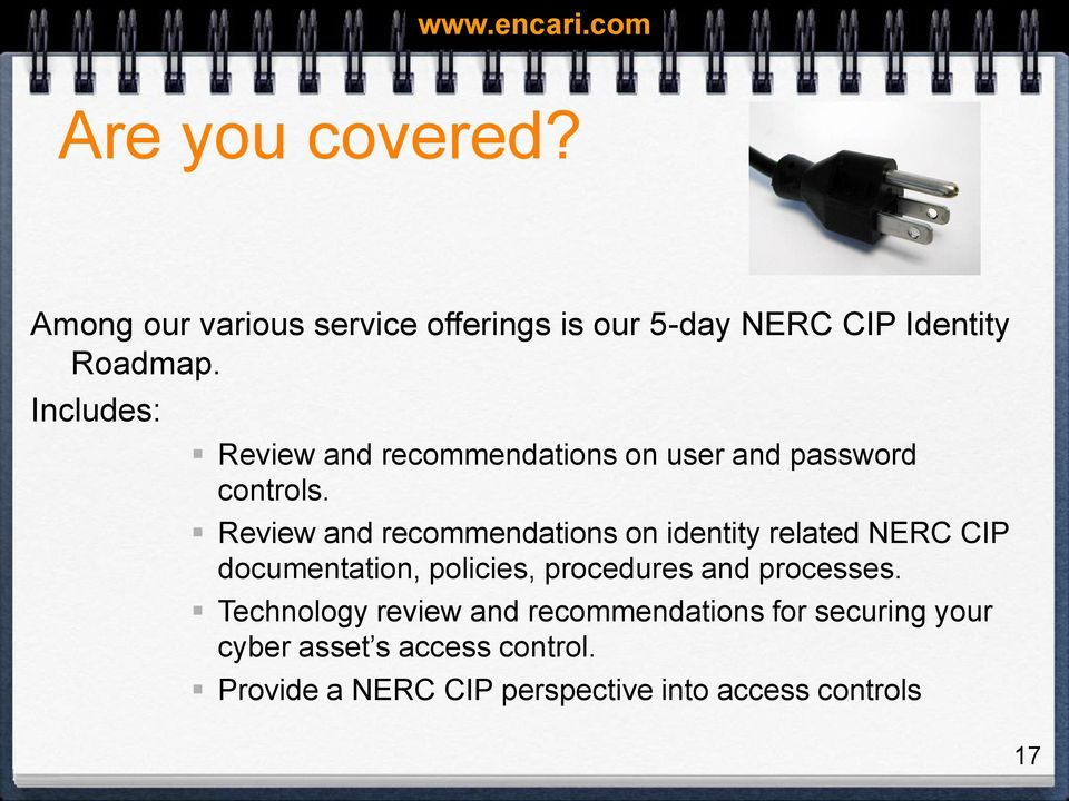 Review and recommendations on identity related NERC CIP documentation, policies, procedures and