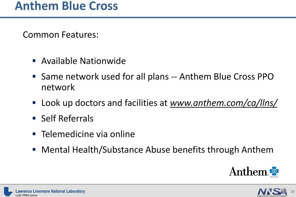 and facilities at www.anthem.