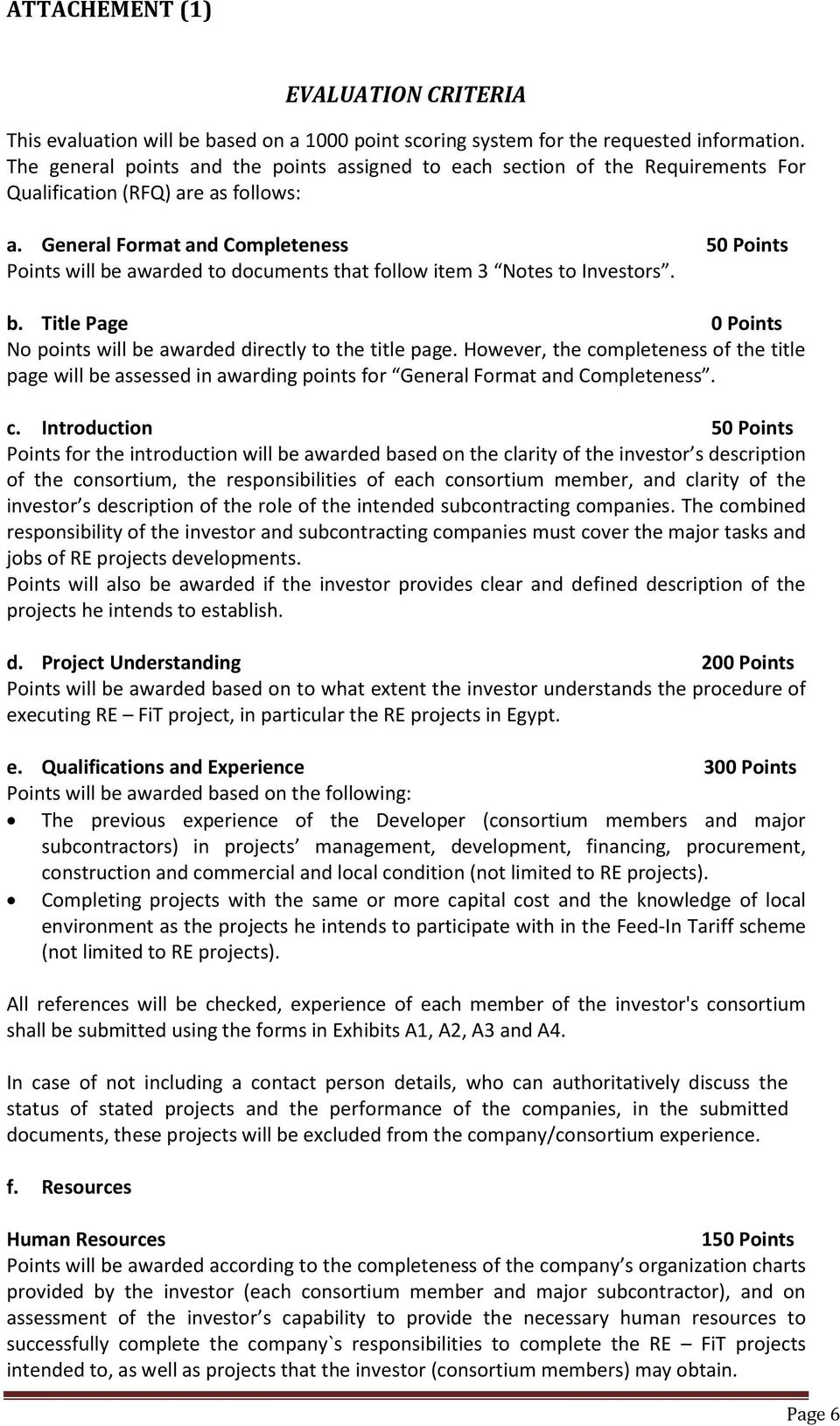 General Format and Completeness 50 Points Points will be awarded to documents that follow item 3 Notes to Investors. b. Title Page 0 Points No points will be awarded directly to the title page.