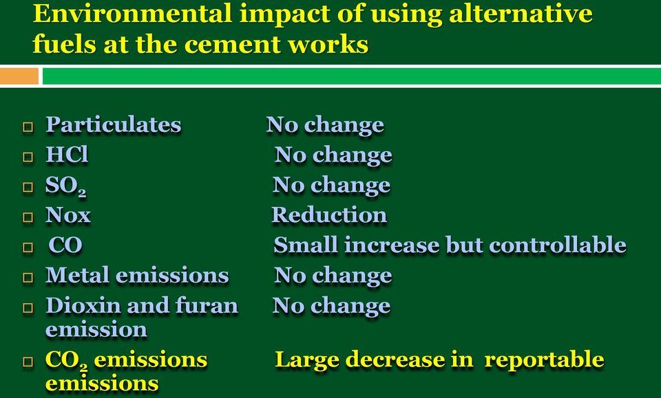Small increase but controllable Metal emissions No change Dioxin and