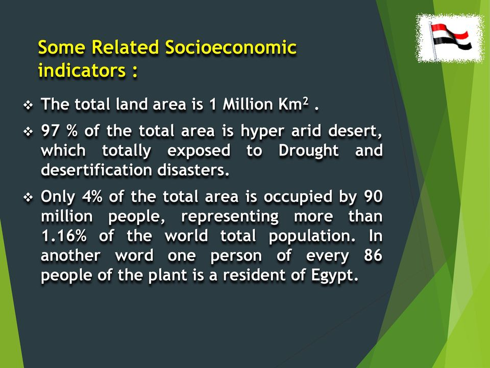disasters. Only 4% of the total area is occupied by 90 million people, representing more than 1.