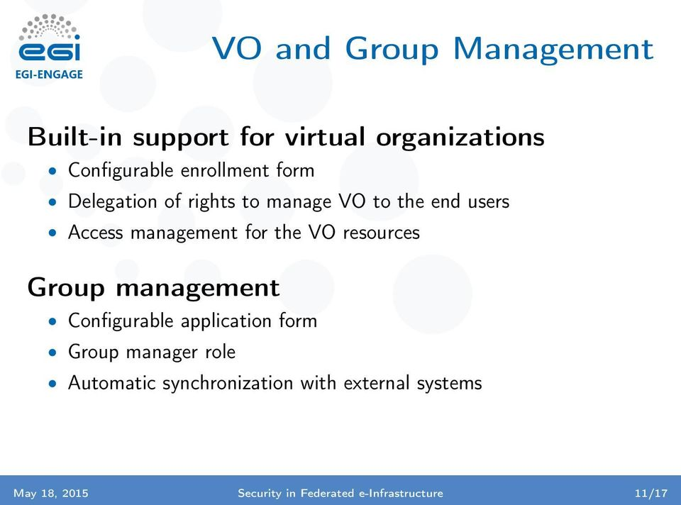 the VO resources Group management Configurable application form Group manager role