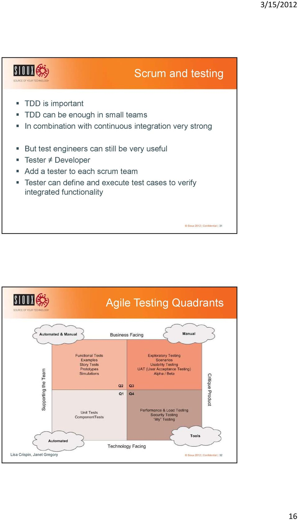 to each scrum team Tester can define and execute test cases to verify integrated functionality