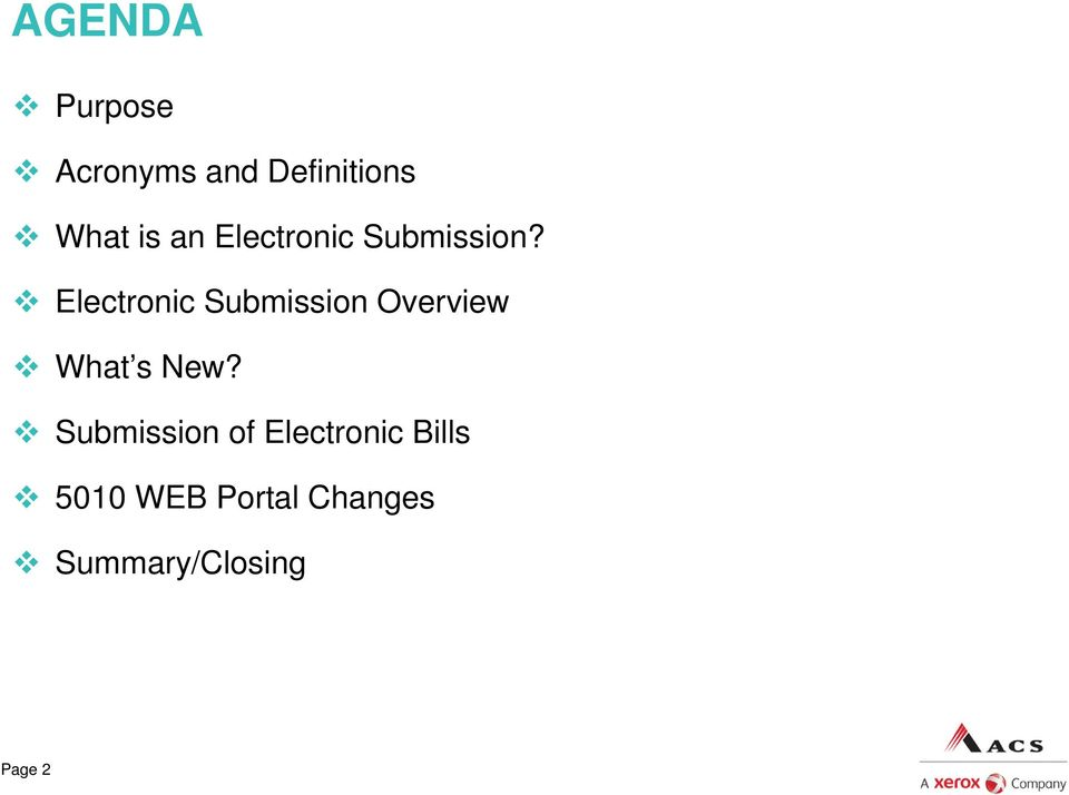 Electronic Submission Overview What s New?