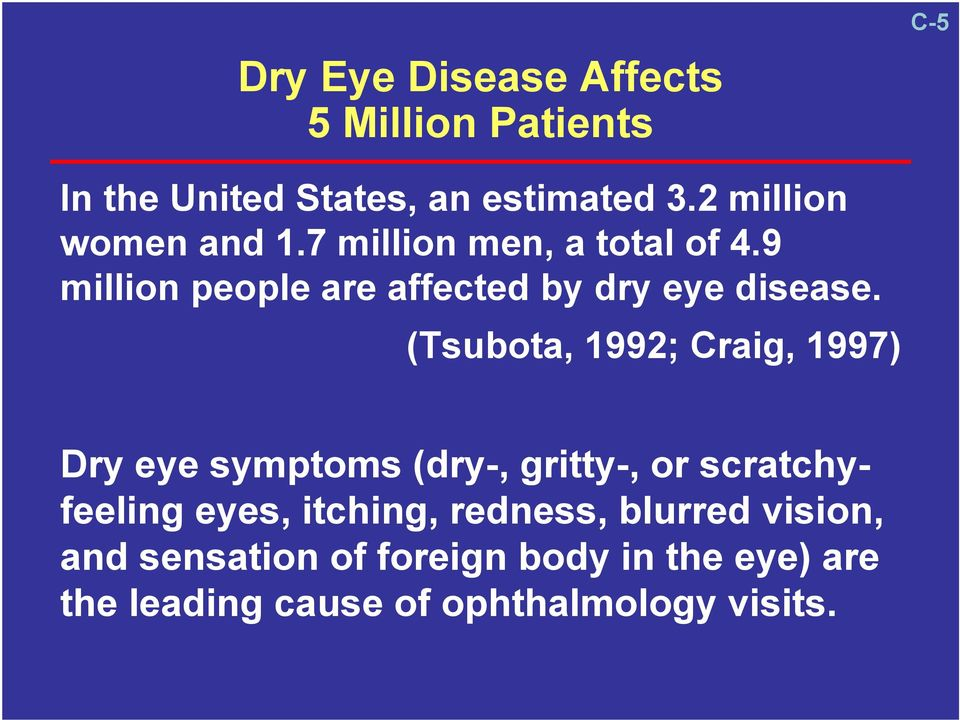 (Tsubota, 1992; Craig, 1997) Dry eye symptoms (dry-, gritty-, or scratchyfeeling eyes, itching,
