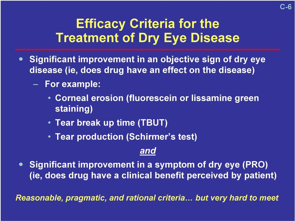 staining) Tear break up time (TBUT) Tear production (Schirmer s test) and Significant improvement in a symptom of dry eye