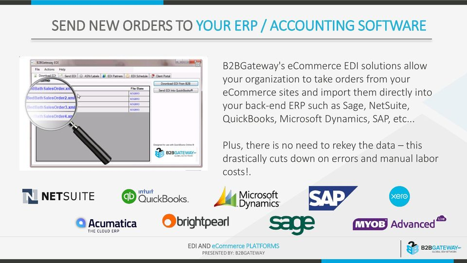 into your back-end ERP such as Sage, NetSuite, QuickBooks, Microsoft Dynamics, SAP, etc