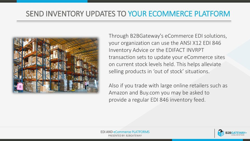sites on current stock levels held This helps alleviate selling products in out of stock situations Also if you