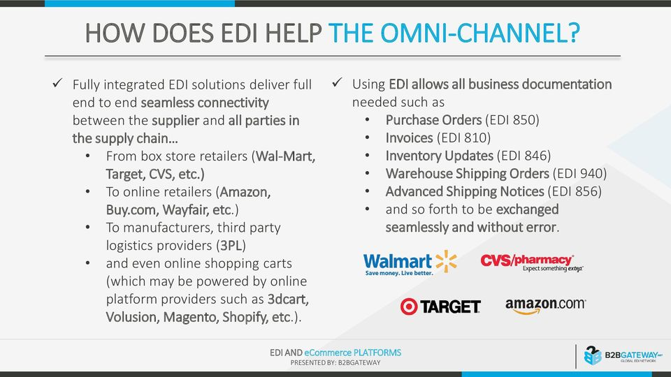 CVS, etc) To online retailers (Amazon, Buycom, Wayfair, etc) To manufacturers, third party logistics providers (3PL) and even online shopping carts (which may be powered by online