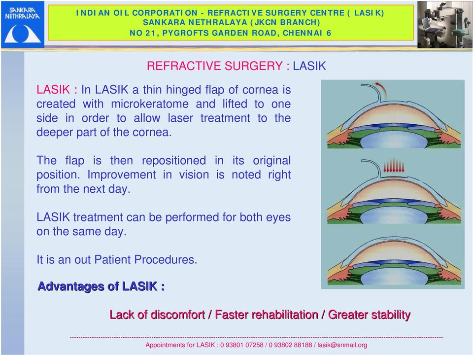 The flap is then repositioned in its original position. Improvement in vision is noted right from the next day.