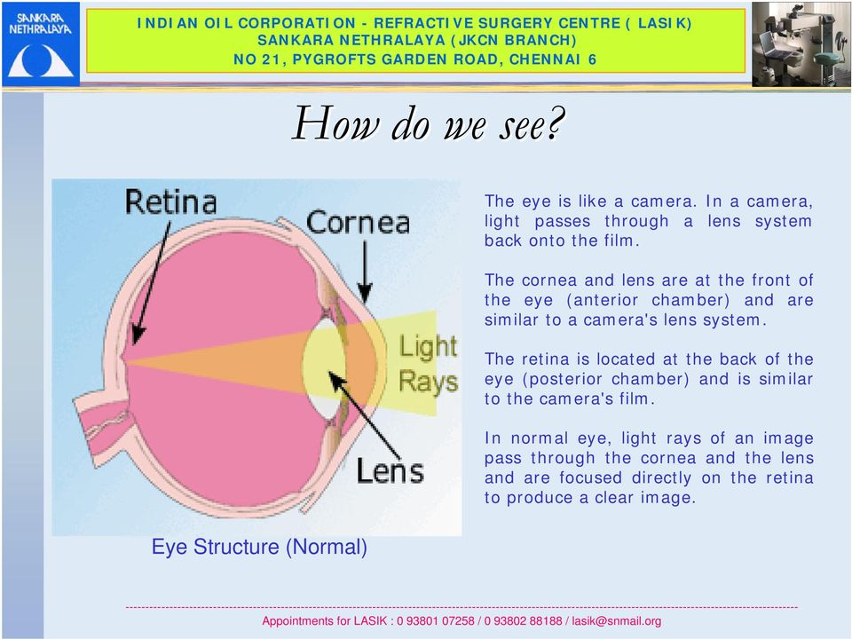 The cornea and lens are at the front of the eye (anterior chamber) and are similar to a camera's lens system.