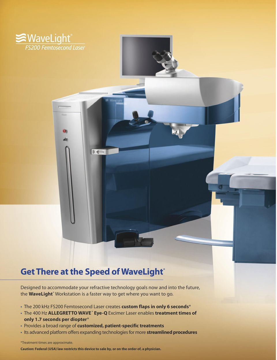 The 200 khz FS200 Femtosecond Laser creates custom flaps in only 6 seconds* The 400 Hz ALLEGRETTO WAVE Eye-Q Excimer Laser enables treatment times of only 1.