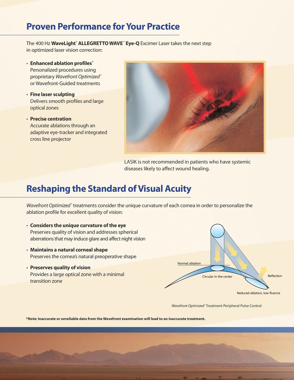 adaptive eye-tracker and integrated cross line projector LASIK is not recommended in patients who have systemic diseases likely to affect wound healing.