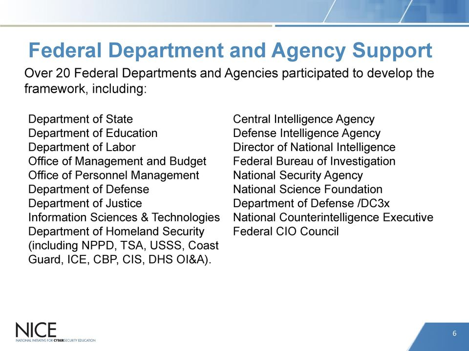 of Homeland Security (including NPPD, TSA, USSS, Coast Guard, ICE, CBP, CIS, DHS OI&A).