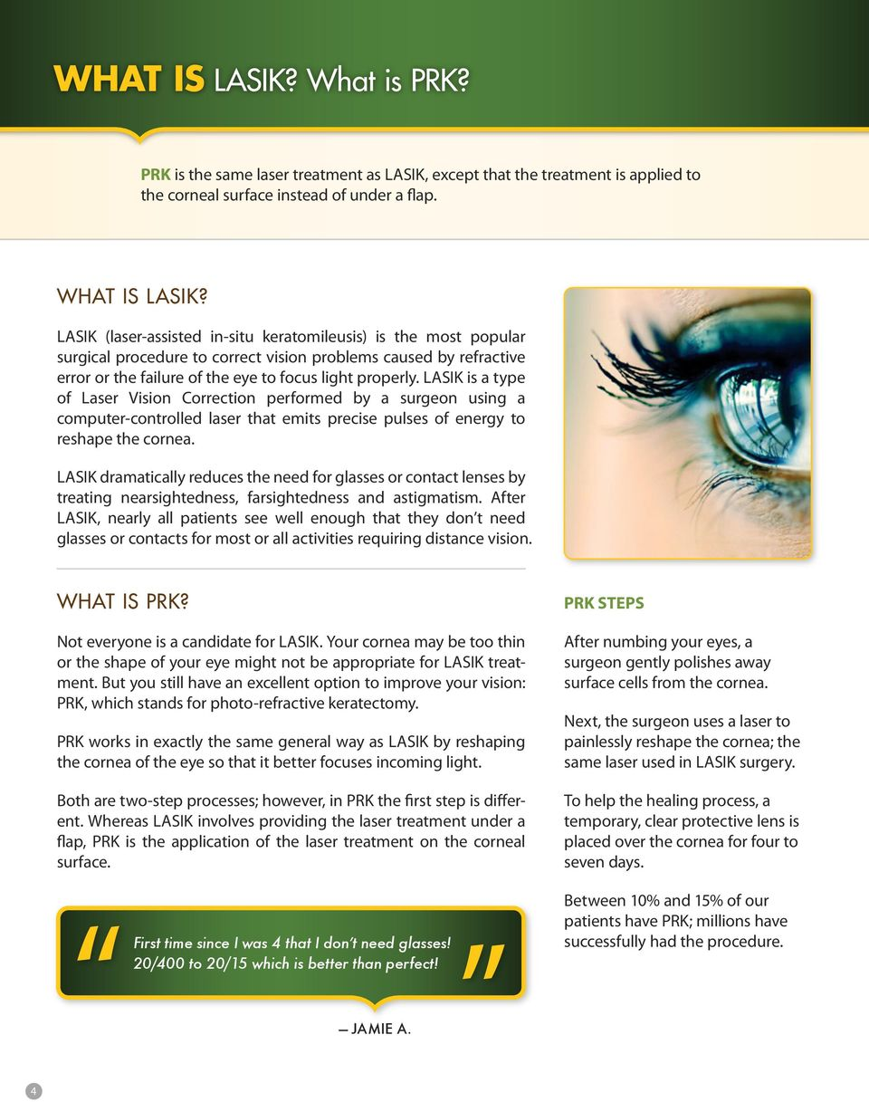 LASIK is a type of Laser Vision Correction performed by a surgeon using a computer-controlled laser that emits precise pulses of energy to reshape the cornea.