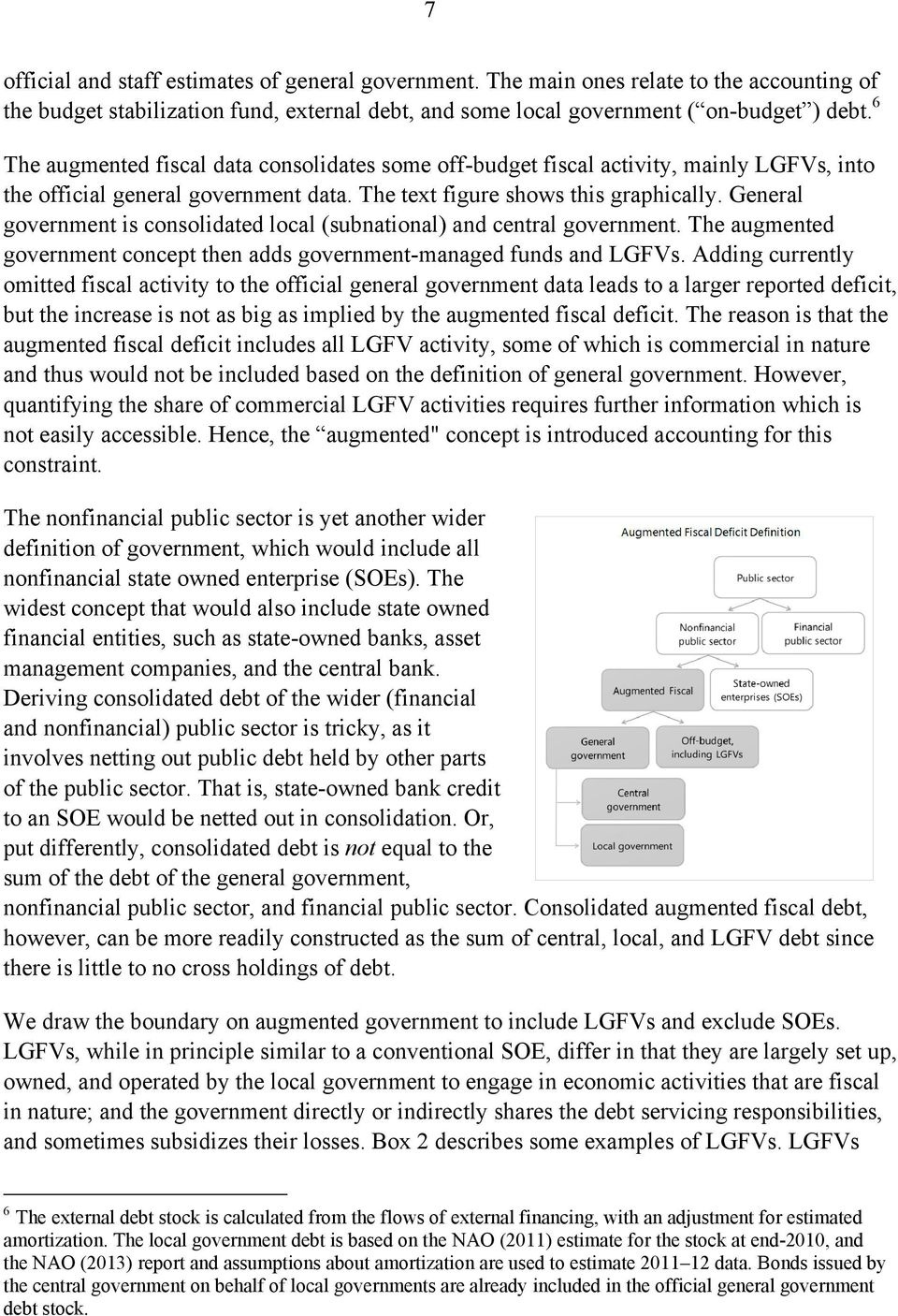 General government is consolidated local (subnational) and central government. The augmented government concept then adds government-managed funds and LGFVs.