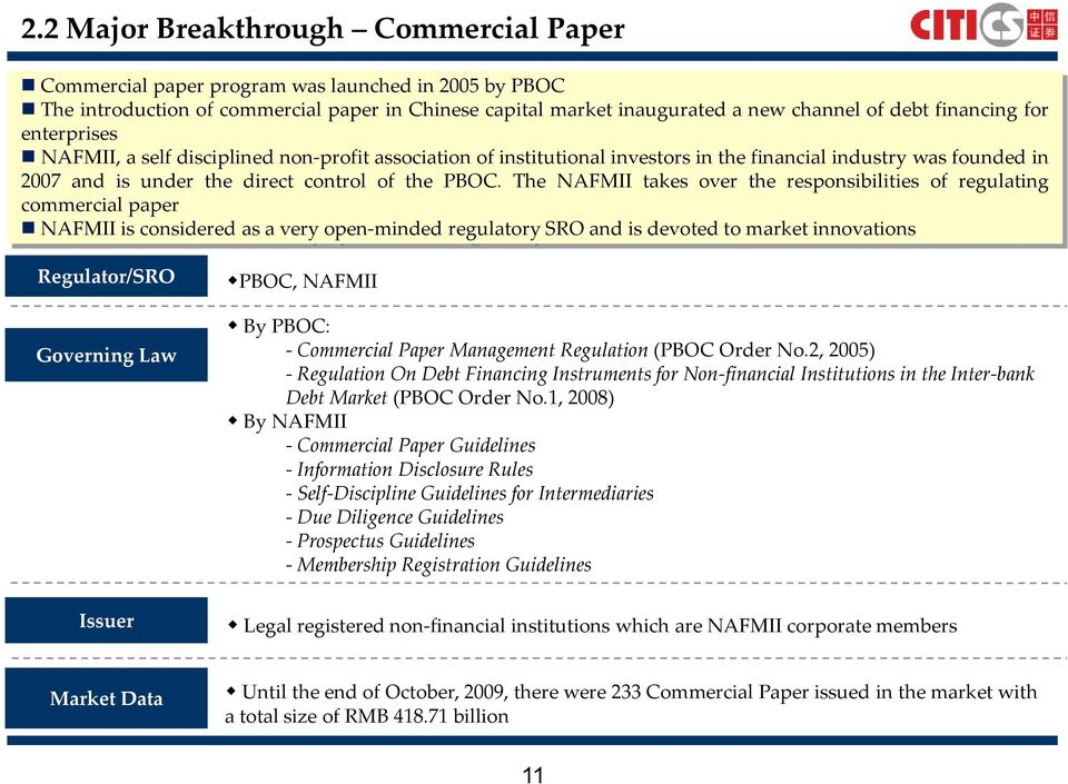 The NAFMII takes over the responsibilities of regulating commercial paper NAFMII is considered as a very open-minded regulatory SRO and is devoted to market innovations Regulator/SRO Governing Law