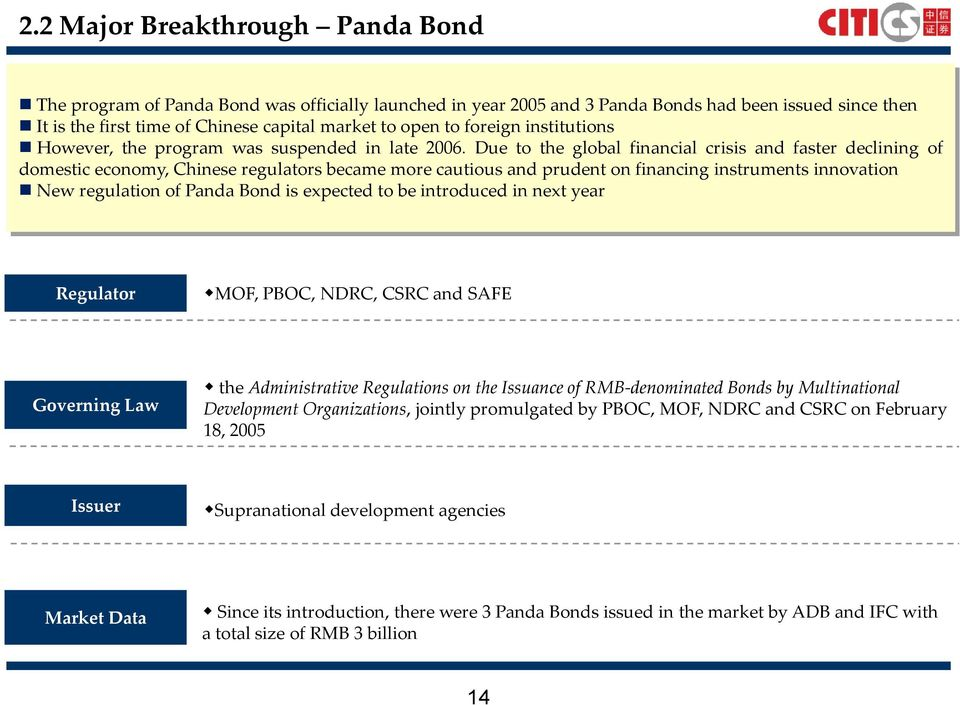 Due to the global financial crisis and faster declining of domestic economy, Chinese regulators became more cautious and prudent on financing instruments innovation New regulation of Panda Bond is