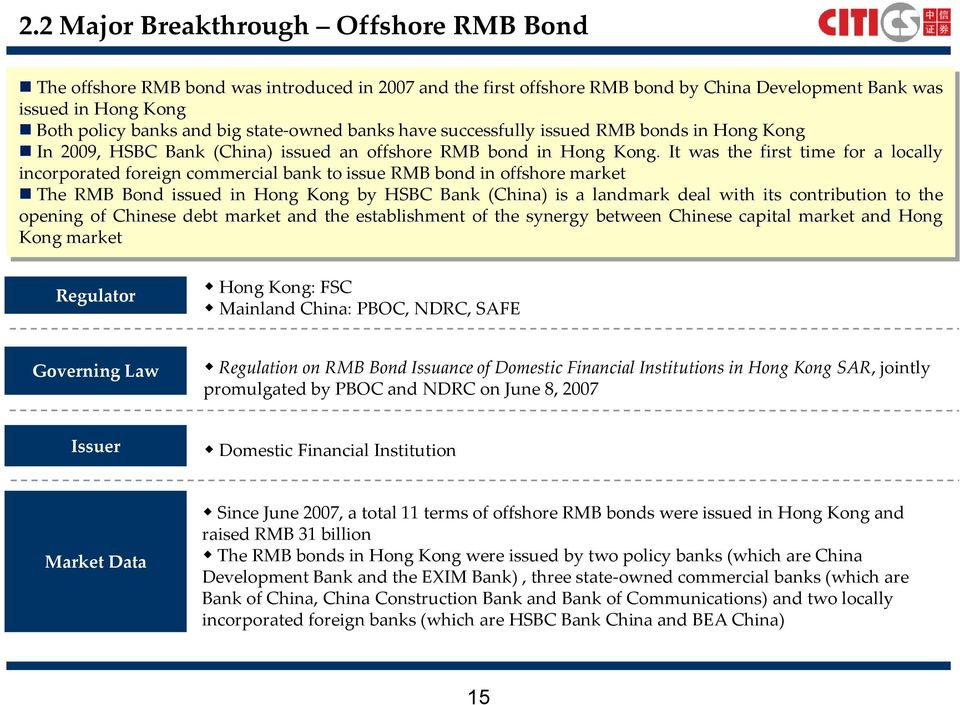 It was the first time for a locally incorporated foreign commercial bank to issue RMB bond in offshore market The RMB Bond issued in Hong Kong by HSBC Bank (China) is a landmark deal with its