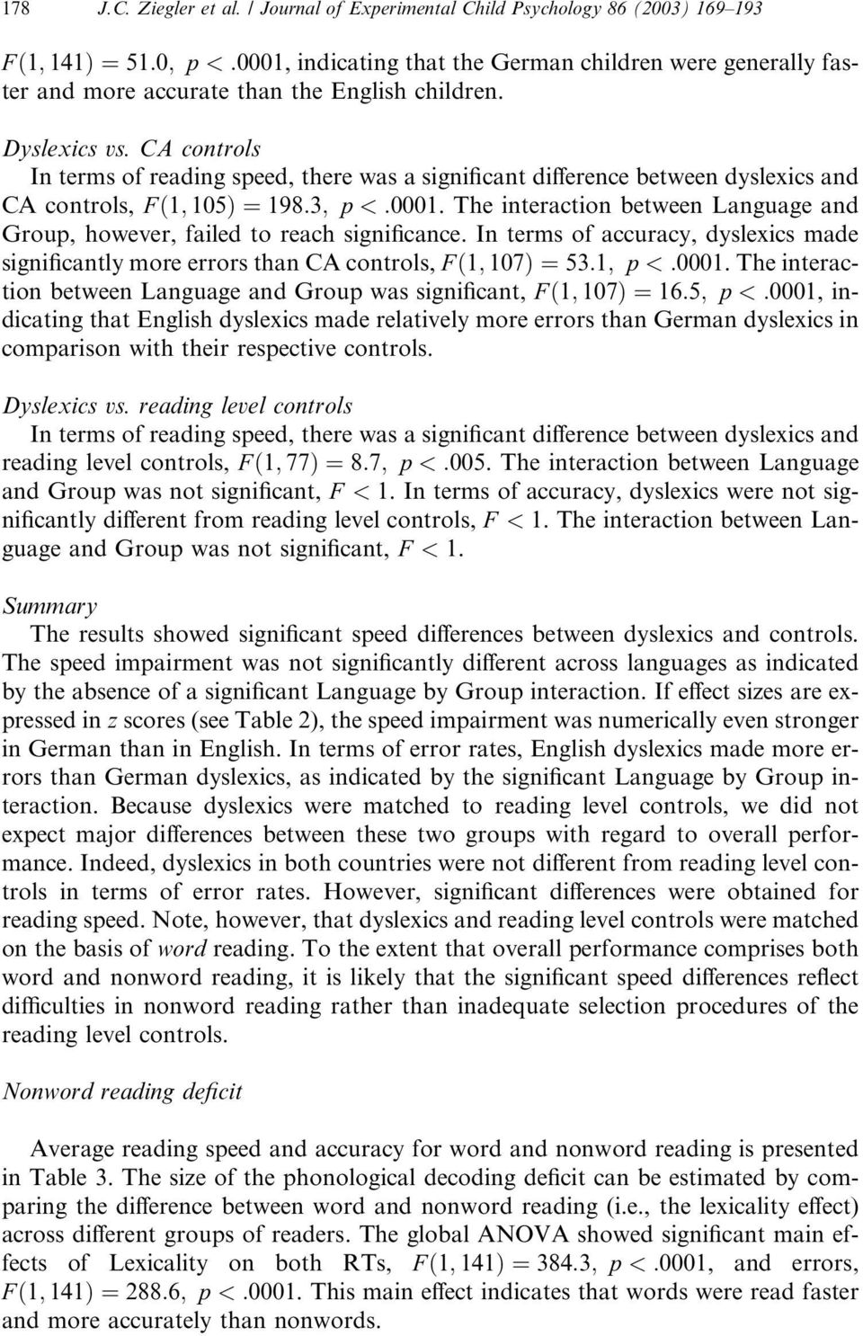 Dyslexics vs. CA controls In terms of reading speed, there was a significant difference between dyslexics and CA controls, F ð1; 105Þ ¼198:3; p <:0001.