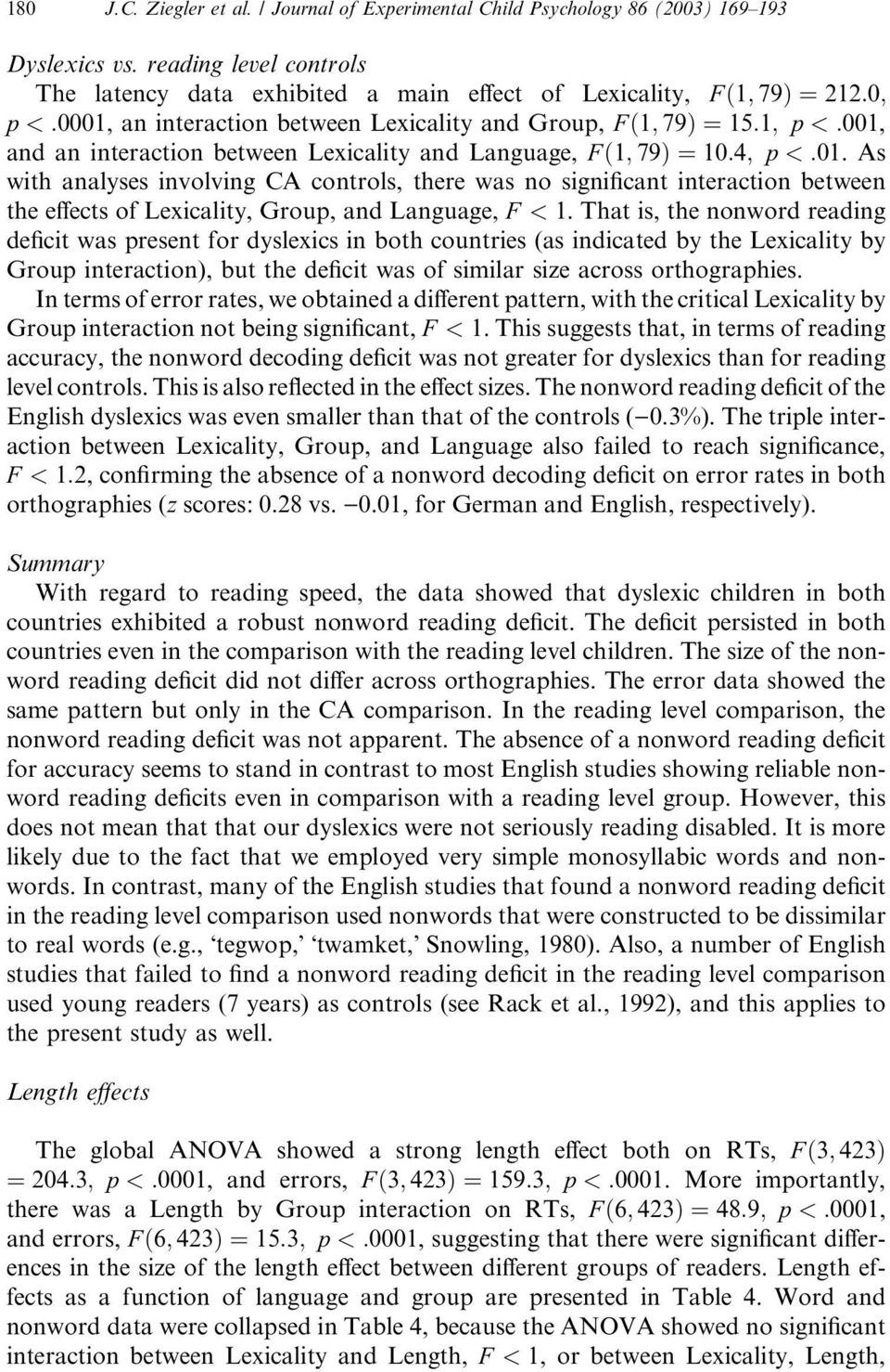 between Lexicality and Language, F ð1; 79Þ ¼10:4; p <:01. As with analyses involving CA controls, there was no significant interaction between the effects of Lexicality, Group, and Language, F < 1.