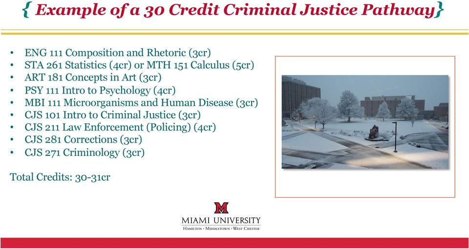 (4cr) MBI 111 Microorganisms and Human Disease (3cr) CJS 101 Intro to Criminal Justice (3cr) CJS 211