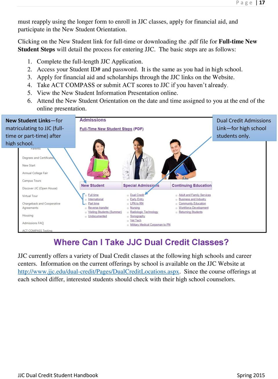 Complete the full-length JJC Application. 2. Access your Student ID# and password. It is the same as you had in high school. 3.