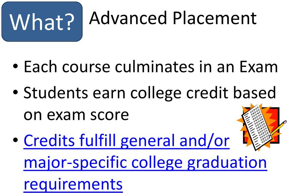 credit based on exam score Credits fulfill