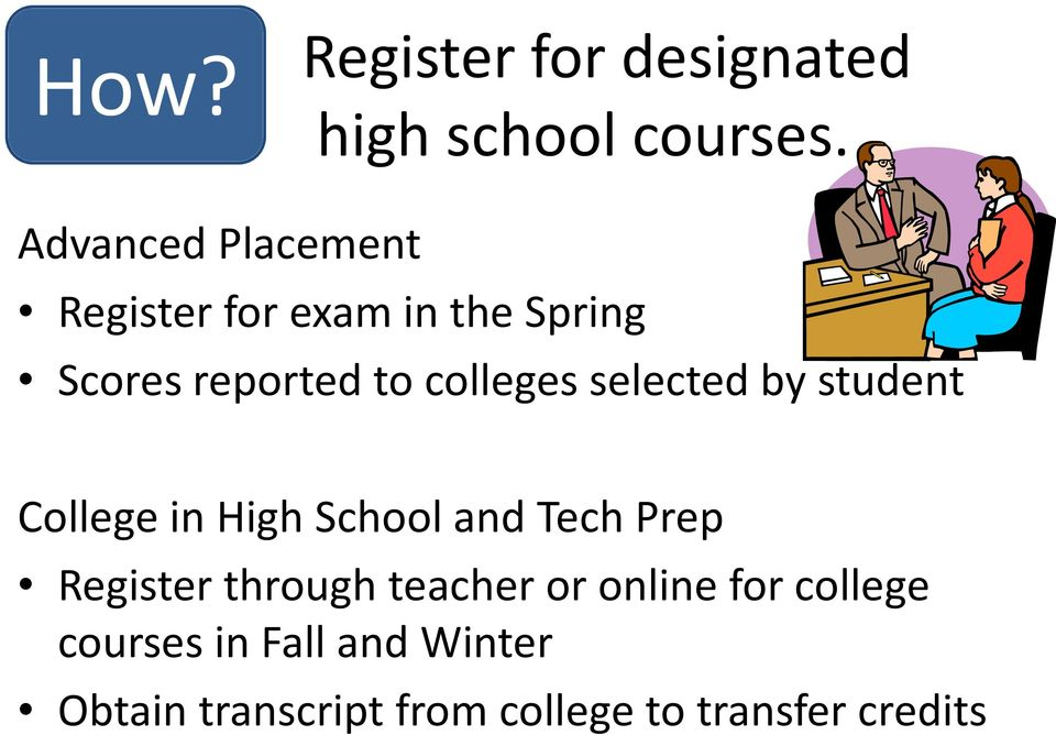 colleges selected by student College in High School and Tech Prep Register