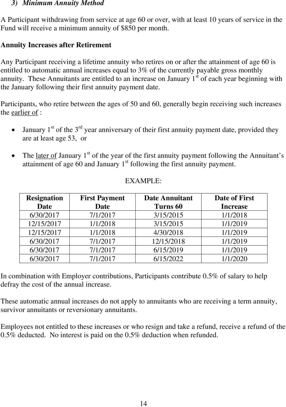 payable gross monthly annuity. These Annuitants are entitled to an increase on January 1 st of each year beginning with the January following their first annuity payment date.