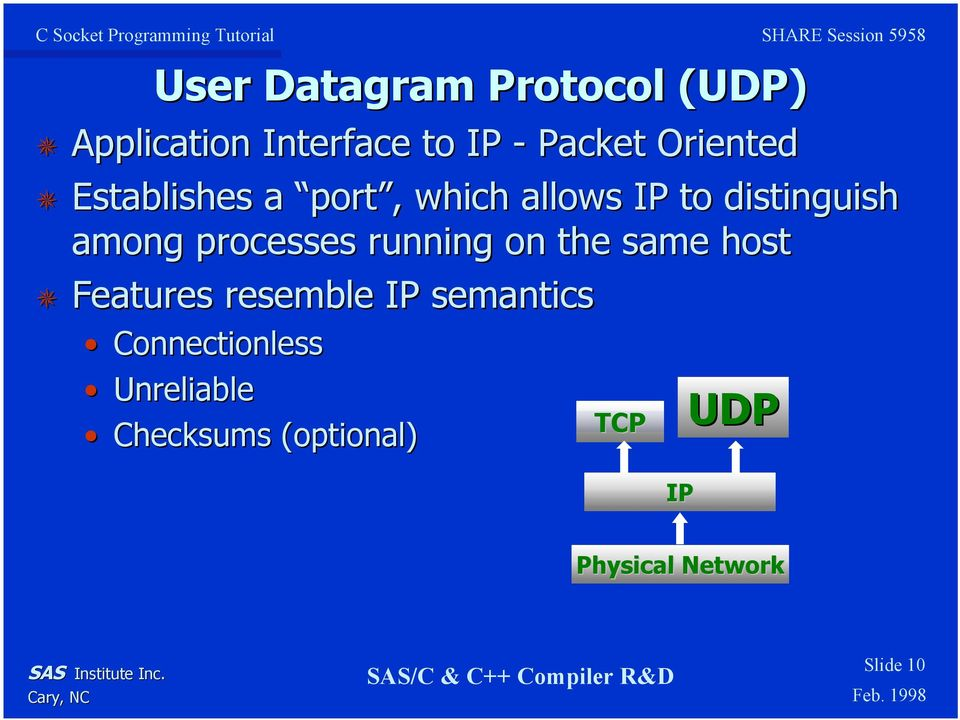 processes running on the same host Features resemble IP semantics