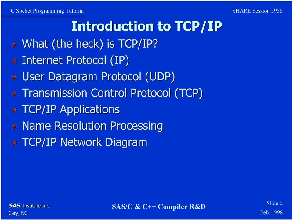 Transmission Control Protocol (TCP) TCP/IP Applications