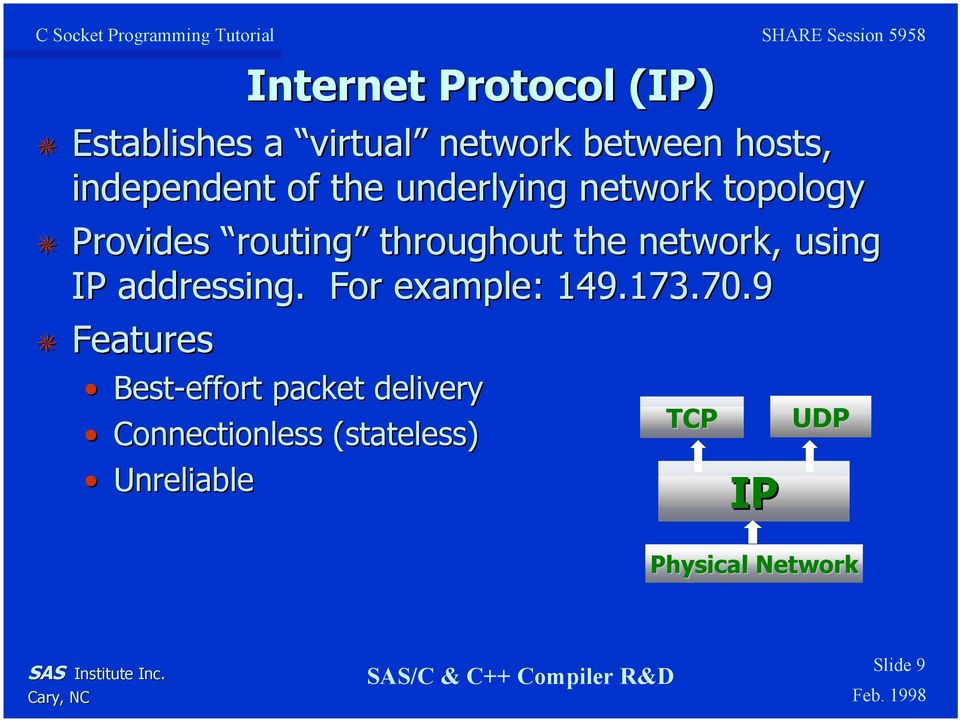 IP addressing. For example: 149.173.70.