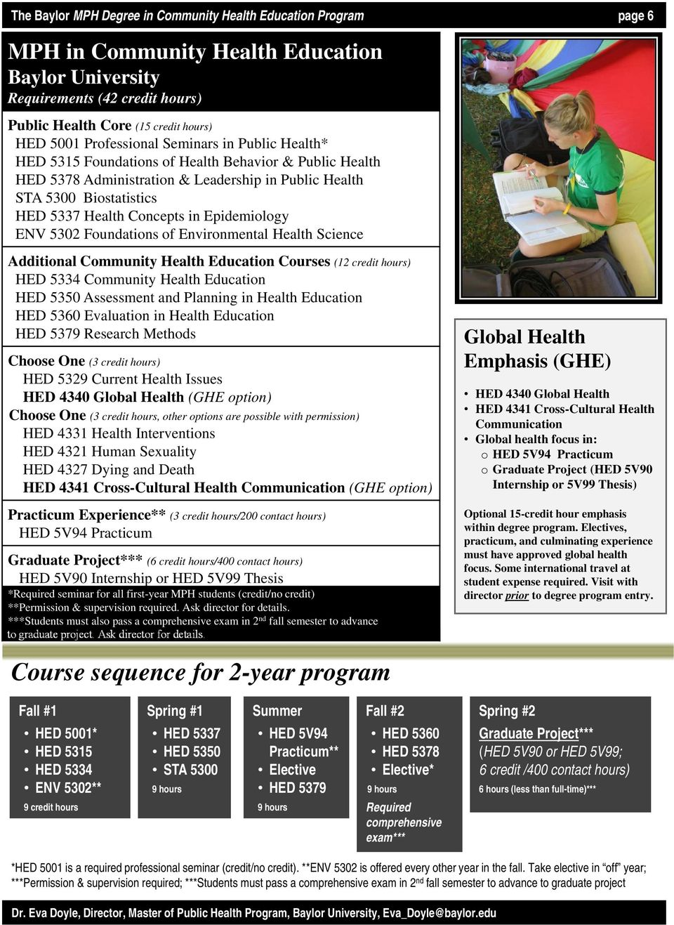 in Epidemiology ENV 5302 Foundations of Environmental Health Science Additional Community Health Education Courses (12 credit hours) HED 5334 Community Health Education HED 5350 Assessment and