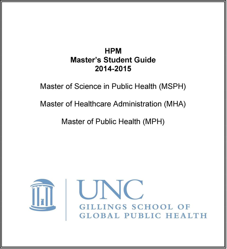 (MSPH) Master of Healthcare